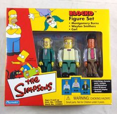Simpsons Blocko Figures 3 Pack Set Mr Burns Smithers Carl Nuclear 2002 Playmates | eBay