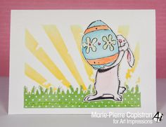 Art Impressions Rubber Stamps: Easter card using Bunny and Egg (Sku#P3098)