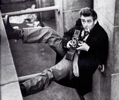 Sometimes Sebastian likes to go completely and totally old school, right down to the James Dean hair and retro camera.