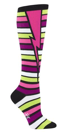 Black/Pink/Green Stripe Bolt Knee Socks