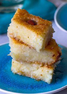 Basbousa (Coconut Yogurt Semolina Cake)