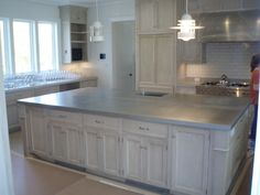 Genial Large French Country Kitchen Island Zinc Countertop With Eased Square Edge.