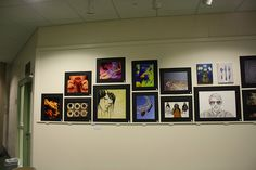 Several drawings and paintings from Upper School Students selected for the Alexi Tucker Art Show