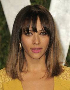 rashida jones (and I might color my hair like l=this I love it and it looks so warm against that yellow and her bronze skin
