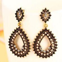 4 colors Bohemia Retro Popular Elegant Fashion Hollow Rhinestone Beads Drop Earrings Statement earrings for women ladies M11(China (Mainland))