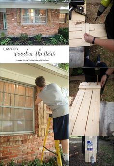 How to build your own wood shutters. I didn't know how easy DIY shutters could be- would be perfect for spring! House Shutters, Diy Shutters, Wooden Shutters, Window Shutters, Cedar Shutters, White Shutters, Palet Exterior, Exterior Paint, Exterior Design