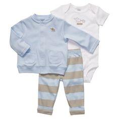 comfy 3-piece cardigan set. #carters #littlelayette