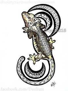 Mahina of the Moon Crested gecko artwork.
