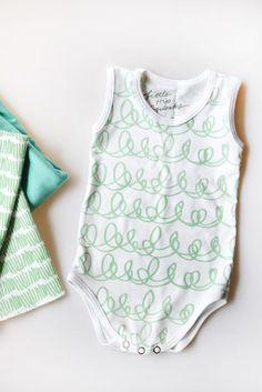 The Cozy Bodysuit // Mint Scribble | Little Hip Squeaks