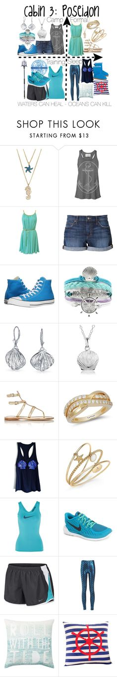 """Cabin 3: Poseidon"" by aquatic-angel ❤ liked on Polyvore featuring Sugar NY, Joe's Jeans, Converse, Bling Jewelry, Journee Collection, Prada, LE VIAN, Charter Club, NIKE and PBteen"