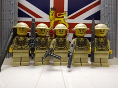 LEGO 5x WWII British 8th Infantrymen w/ Bazooka, Lewis, Sten,M1A1 & Lee Enfield #LEGO