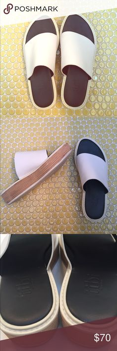 """Tibi 'Mina' Slides Fabulous and coveted 'Mina' slides from Tibi in of-the-moment white leather. Pristine condition. 1.5"""" heel. Tibi Shoes Sandals"""