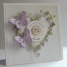 Dorota_mk: Komunijnie Love Scrapbook, Scrapbook Cards, Scrapbooking, Shabby Chic Cards, Embossed Cards, Marianne Design, Butterfly Cards, Heartfelt Creations, Pretty Cards