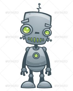 """Happy Robot - GraphicRiver Item for Sale... Not sure I'd caption him/her as """"happy"""", but still cute :)"""