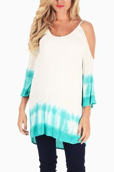Aqua-White-Tie-Dye-Open-Shoulder-Maternity-Tunic #maternity #fashion #cutematernityclothes #cutematernitytops #transitionalclothing