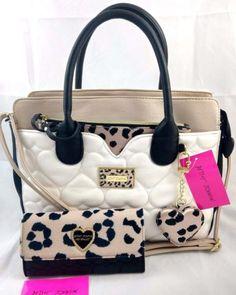 Betsey Johnson 4pc Cheetah Set Quilted Heart Satchel Bag Wallet Leopard Print