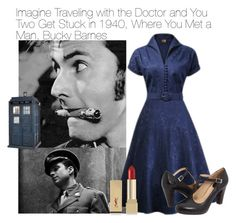 """Imagine Traveling with the Doctor and You Two Get Stuck in 1940, Where You Met a Man, Bucky Barnes"" by fandomimagineshere ❤ liked on Polyvore featuring Sebastian Professional, Frye and Yves Saint Laurent"