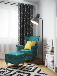 Jugend Style Skandinavisch Stehelampe Sessel Hocker Türkis Musterteppich  Gardinen