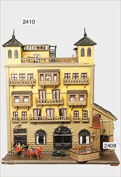 Ladenburger Spielzeugauktion GmbH (jt-visit site for more pics . not in English) Antique Dollhouse, Dollhouse Dolls, Antique Dolls, Vintage Dolls, Doll Houses, Play Houses, Antique Christmas, Miniature Houses, Old And New