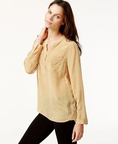 Lucky Brand Printed Silk Blouse
