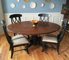 Sophisticated table and chairs in GF's Java + Antique Walnut Gel Stains and Lamp Black Milk Paint Oak Table And Chairs, Dining Table Chairs, A Table, Table Lamp, High Chairs, Black Chairs, Desk Chairs, Furniture Chairs, Upholstered Chairs