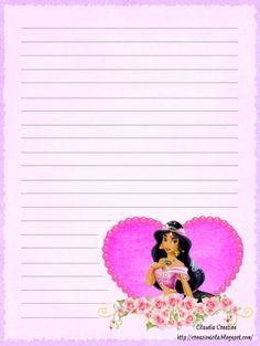 il mio angolo creativo: Carta da lettere Principessa Jasmine