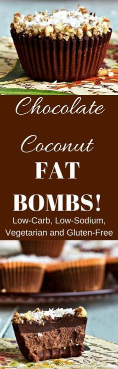 Chocolate Coconut Fat Bombs are Low-Carb, Low-Sodium, Vegan, Vegetarian, Dairy-Free and Gluten-Free. Made without processed sugar. Chocolate Fat Bombs, Low Carb Chocolate, Coconut Chocolate, Chocolate Syrup, Chocolate Cupcakes, Low Carb Desserts, Easy Desserts, Dessert Recipes, Snack Recipes