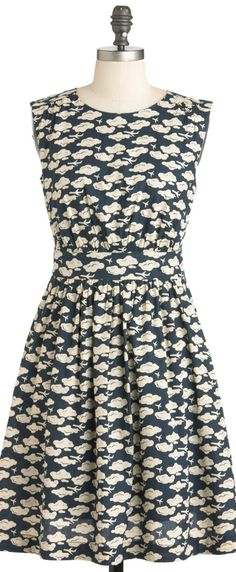 clouds and planes print dress