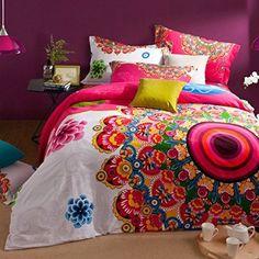 Amazon.com - Cooperation Home Textile, Cotton Sanded Fabric, Boho Style Bedding Set, Boho Duvet Cover Set, Bohemian Bedding Set, Queen, 4Pcs (4) -