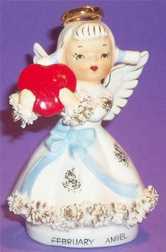 Vintage Lefton February Valentine Angel Holding Large Heart Numbered | eBay