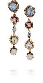 Put these on. Instant elegance obtained!  Oscar de la Renta24-karat gold-plated crystal clip #earrings