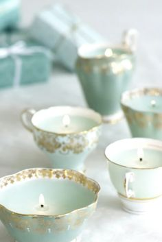 Teacup candles now there's an idea