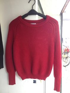 Pullover Loose Scoop Retro Bold Lines Sweater