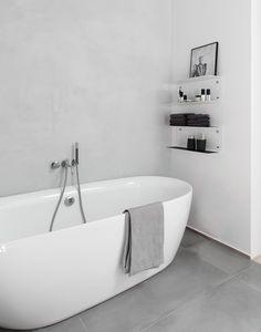 Stylish And Laconic Minimalist Bathroom Decor Ideas - DigsDigs Bathroom Toilets, Bathroom Renos, Grey Bathrooms, Laundry In Bathroom, White Bathroom, Beautiful Bathrooms, Bathroom Interior, Modern Bathroom, Bathroom Shelves