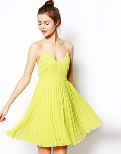 Buy ASOS Pleated Mini Dress at ASOS. With free delivery and return options (Ts&Cs apply), online shopping has never been so easy. Get the latest trends with ASOS now. Cute Dresses, Beautiful Dresses, Cute Outfits, Prom Dresses, Chartreuse Dress, Yellow Dress, Spring Formal Dresses, Eleonore Bridge, Mode Ootd