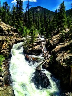 Adam's falls, Grand Lake, CO - Adam's Falls Trail-head is a minute drive or a walk away from the Rapid's Lodge! Book a stay down the road at the Rapids Lodge this summer to see this outstanding waterfall! Grand Lake Colorado, Colorado Mountains, Colorado Trip, Granby Colorado, Aspen Colorado, Adams Falls, Beautiful Waterfalls, Rocky Mountain National Park, Vacation Spots