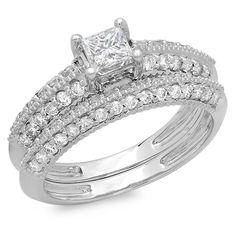 14k White Gold 1 1/6ct TDW Princess and Round Diamond Bridal Ring Set