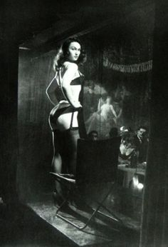 French burlesque performer Lily Niagara at the Crazy Horse Saloon. Paris, 1959.