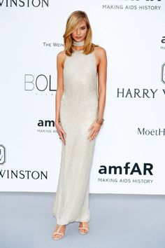 Silver stunner: Karlie Kloss covered her long and lean figure in a loose-fitting shimmering Tom Ford dress that skimmed lightly over her curves, also showing off her side-boob as she posed this way and that at the amfAR Gala Celebrity Outfits, Celebrity Style, Beautiful Dresses, Nice Dresses, Long Dresses, Tom Ford Dress, Revealing Dresses, Red Carpet Gowns, Cannes Film Festival