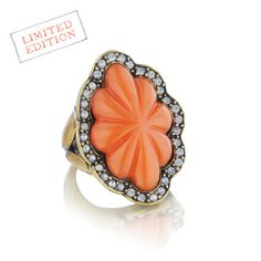 Seascape Statement Ring  https://www.chloeandisabel.com/products/R060C/seascape-statement-ring  A 1920s-inspired, fluted + semi-sheer #coral #cabochon, framed by white #opal crystals.