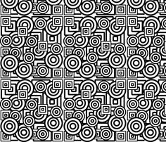 Dizzy Circles and Quirky Squares in Black and White. fabric by minniemeatdaydreamstudio on Spoonflower - custom fabric