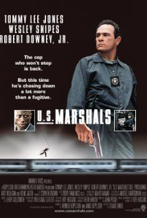 Marshals Directed by Stuart Baird. With Tommy Lee Jones, Wesley Snipes, Robert Downey Jr. US Marshal Samuel Gerard (Jones) and his team of Marshals are assigned to track down Sheridan (Snipes), a murderer and robber. Blockbuster Movies, 90s Movies, Indie Movies, Comedy Movies, Best Action Movies, Great Movies, Movies Showing, Movies And Tv Shows, Action Movie Poster