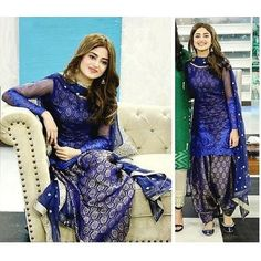 From short frocks to shalwar kameez, Sajal Ali dresses can give you an idea how to look trendy and adorable in every season. Patiala Dress, Punjabi Dress, Salwar Kameez, Punjabi Suits, Churidar, Pakistani Dresses Casual, Indian Gowns Dresses, Pakistani Dress Design, Punjabi Fashion