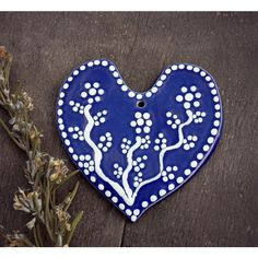 Blue Heart Ceramic Set of 2 Ornaments Eco Friendly Pottery Wedding... ($23) ❤ liked on Polyvore featuring home, home decor, holiday decorations, ceramic ornaments, handmade ornaments, hand crafted ornaments, blue home accessories and hand made ornaments
