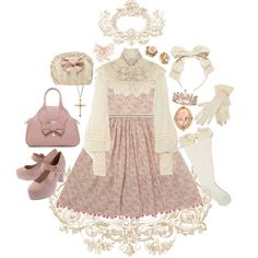 Dusty rose & lace by mlekko featuring vintage gloves Pink dress, 150 CAD / Ralph Lauren Collection silk blouse, CAD / Vivienne Westwood leather handbag, 435 CAD / Gold jewelry / Bliss Rose rose. Kawaii Fashion, Lolita Fashion, Cute Fashion, Look Fashion, Girl Fashion, Fashion Outfits, Fashion Design, Aesthetic Fashion, Aesthetic Clothes