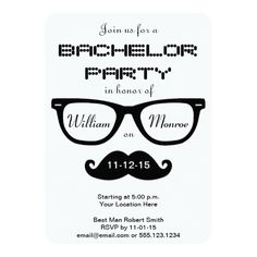 Shop Hipster Bachelor Party Invitation created by prettypicture. Bachelor Party Invitations, Custom Invitations, Rsvp, Hipster, Cards, Hipsters, Map, Boyshorts