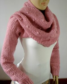 SCARF with Sleeves KNITTING PATTERN Shawl Cowl Bubble Stitch Scarf Cowl Pattern Big Scarf Cowl with Long Sleeves, pdf files Instant Download