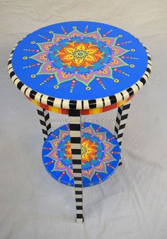 Hand Painted Mandala Side Table With Shelf and Three Checkered Legs by LisaFrick on Etsy