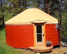 The Shelter Designs 16 ft Four Seasons Yurt is designed to serve your small home needs & wants in climates where harsh winters and hot summers are the norm. Yurt Living, Tiny Living, Outdoor Living, Pacific Yurts, Yurt Interior, Shelter Design, Micro House, Shipping Container Homes, Close To Home
