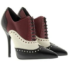 Gucci Boots & Booties, Brogue Stiletto Gia Nero/Burgundy/Bianco Shoe (1 650 BGN) ❤ liked on Polyvore featuring shoes, boots, ankle booties, pointed-toe boots, leather sole boots, pointy booties, brogue boots and burgundy leather boots
